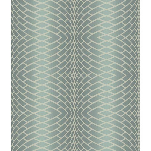 Modern Luxe Frosted Sea Glass Green and Breakers White Plush Impulse Wallpaper