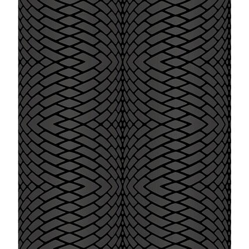 York Wallcoverings Modern Luxe Plush Obsidian Black and Frosted Silver Impulse Wallpaper