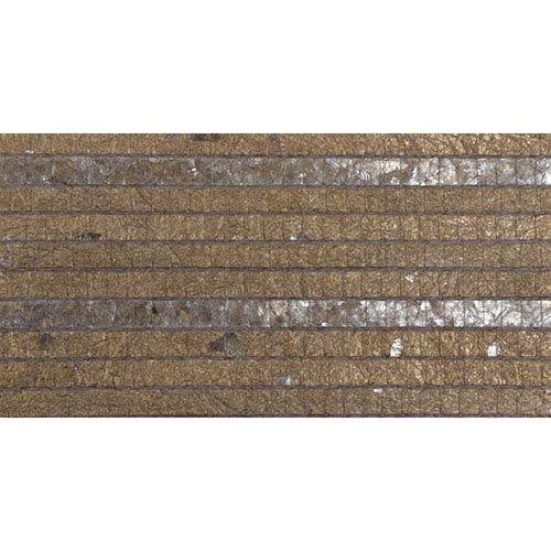 Modern Luxe Earth Brown Pyrite Woven Capiz Wallpaper