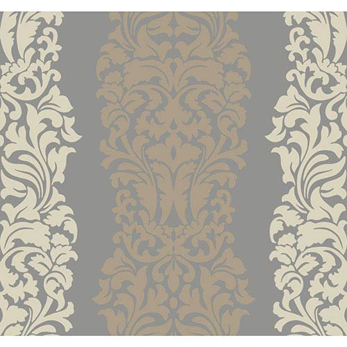 Modern Luxe Silver Sheen and Tan Harmony Wallpaper