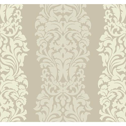 York Wallcoverings Modern Luxe Golden Glow and Cream Harmony Wallpaper: Sample Swatch Only