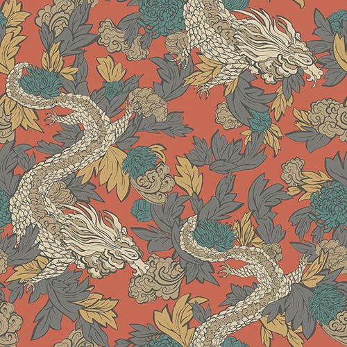 Dwell Studio Ming Dragon Oranges Wallpaper