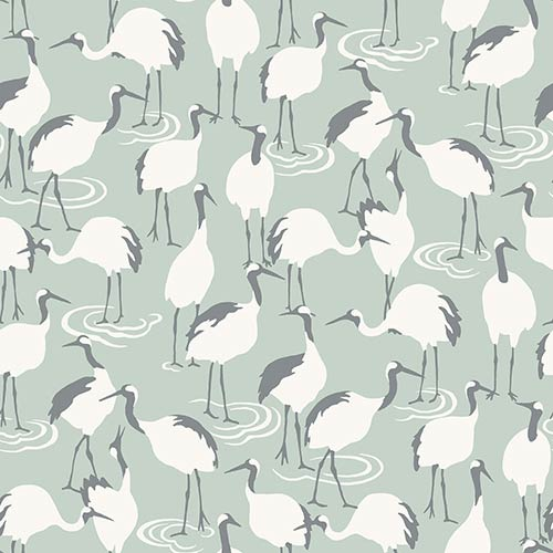 York Wallcoverings Dwell Studio Winter Cranes Green Wallpaper- Sample Swatch Only