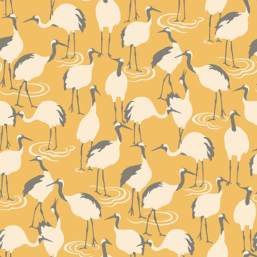 Dwell Studio Winter Cranes Yellow Wallpaper