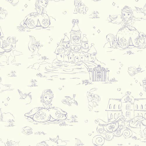Disney Kids II Purple and White Sofia Toile Wallpaper : Sample Swatch Only
