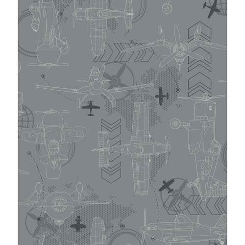 Disney Kids II Grey Blueprint Planes Wallpaper: Sample Swatch Only