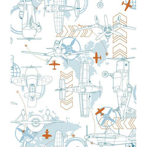 York Wallcoverings Disney Kids II White and Blue Blueprint Planes Wallpaper: Sample Swatch Only