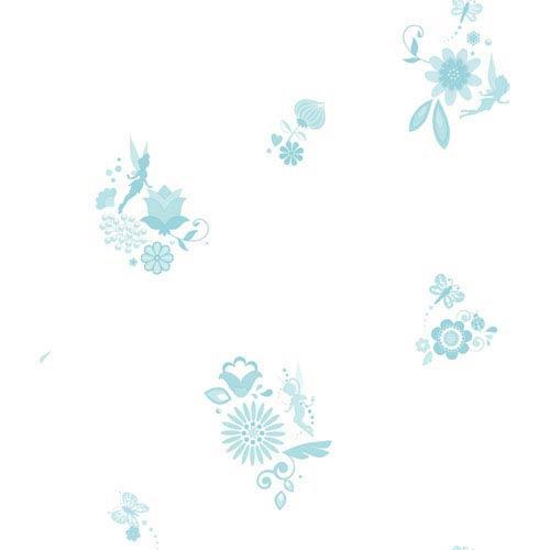 York Wallcoverings Disney Kids II White and Aquamarine Tonal Fairy Spot Wallpaper : Sample Swatch Only