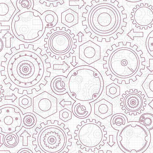 York Wallcoverings Disney Kids II White and Red Gadget Wallpaper : Sample Swatch Only