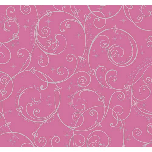 York Wallcoverings Disney Kids II Pink and Silver Perfect Princess Scroll Wallpaper: Sample Swatch Only