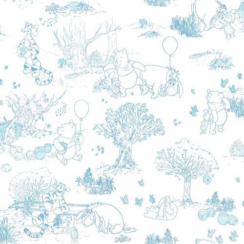Disney Kids II Blue and White Pooh and Friends Toile Wallpaper