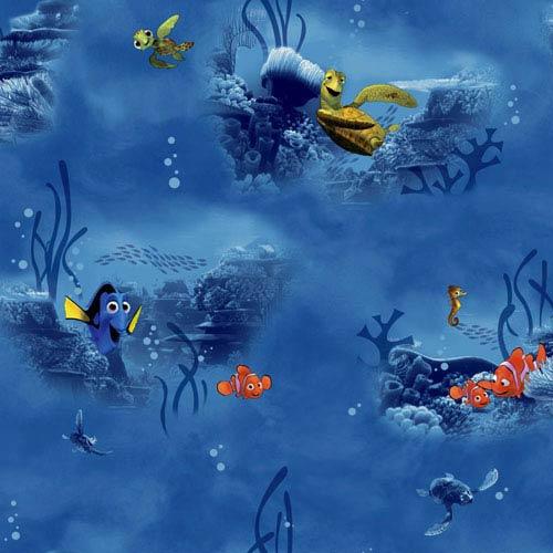 York Wallcoverings Disney Kids II Blue Nemo Under Water Wallpaper: Sample Swatch Only