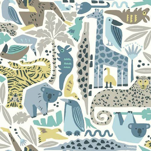 York Wallcoverings Dwell Studio Baby and Kids Jungle Puzzle Blue, Brown and Yellow Wallpaper- Sample Swatch Only