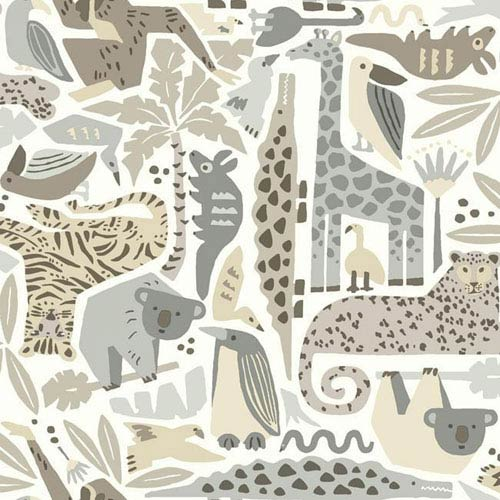 York Wallcoverings Dwell Studio Baby and Kids Jungle Puzzle Brown, Black and Beige Wallpaper- Sample Swatch Only