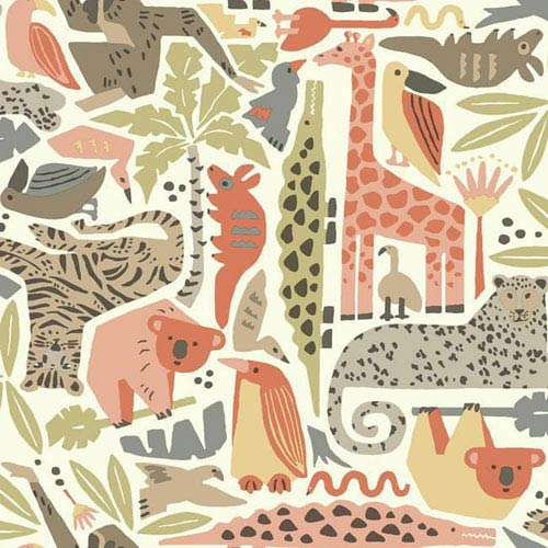 Dwell Studio Baby and Kids Jungle Puzzle Brown, Orange and Green Wallpaper- Sample Swatch Only