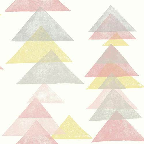 York Wallcoverings Dwell Studio Baby and Kids Triangles Pink and Yellow Wallpaper- Sample Swatch Only
