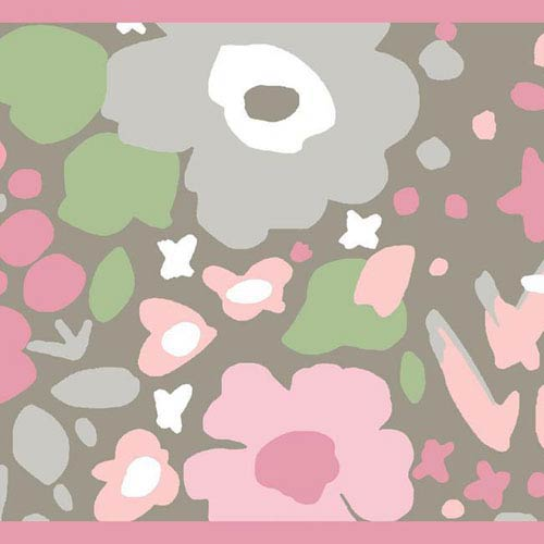 Dwell Studio Baby and Kids Posey Border Pink and Green Wallpaper- Sample Swatch Only