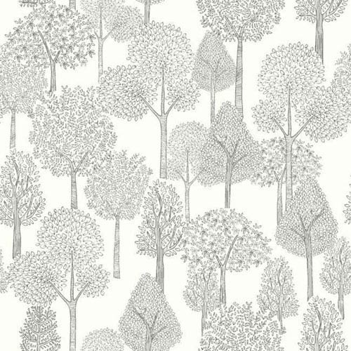 Dwell Studio Baby and Kids Treetops Black and White Wallpaper