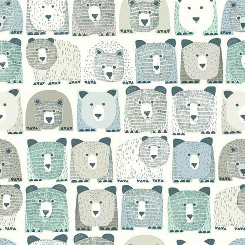 York Wallcoverings Dwell Studio Baby and Kids Bears Sidewall Blue and Black Wallpaper- Sample Swatch Only