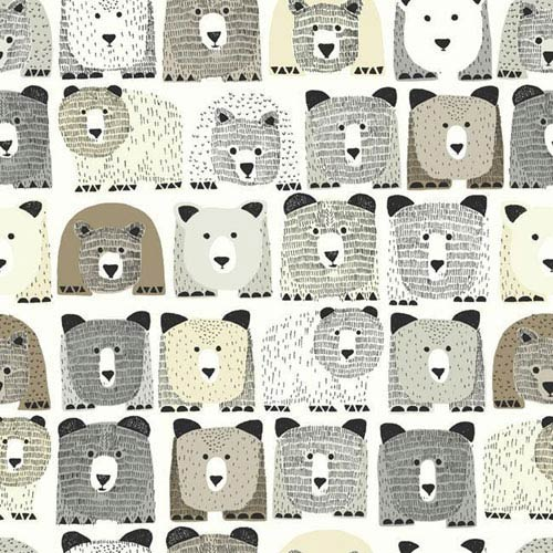 Dwell Studio Baby and Kids Bears Sidewall Black and Brown Wallpaper- Sample Swatch Only