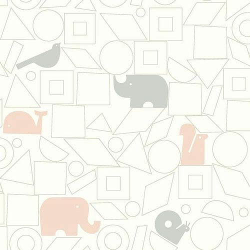 Dwell Studio Baby and Kids Animal Blocks Black and Pink Wallpaper