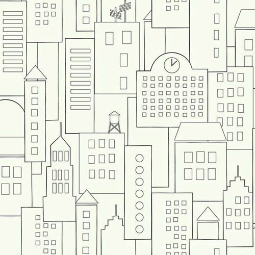 Dwell Studio Baby and Kids Skyline Sidewall Black and White Wallpaper