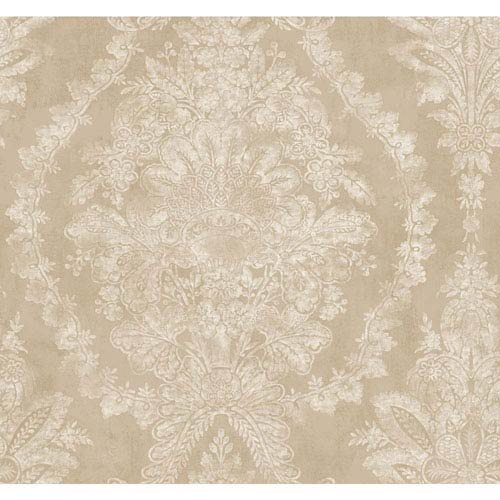 Ronald Redding 18 Karat II Gold and Beige Charleston Wallpaper                                      : Sample Swatch Only