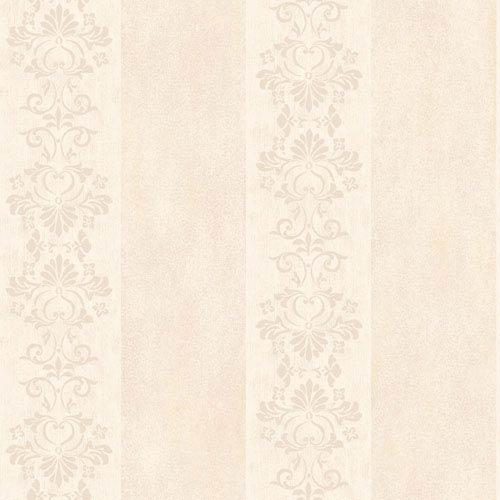 York Wallcoverings Arlington Cream and Pale Peach Stencil Stripe Wallpaper