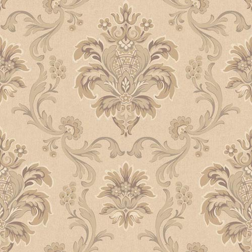 Arlington Beige and Cream Bohemian Damask Wallpaper: Sample Swatch Only