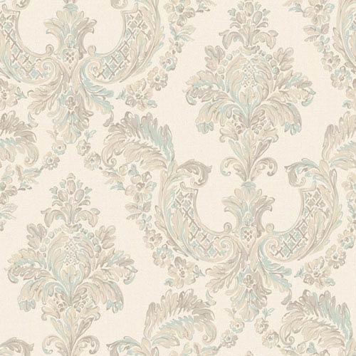 Arlington Cream and Aqua Gilded Damask Wallpaper