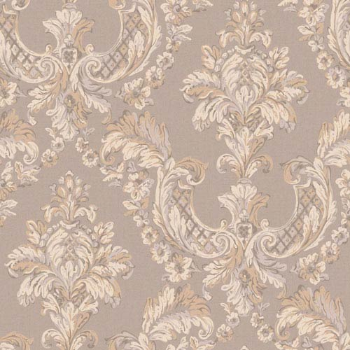 York Wallcoverings Arlington Silver and Cream Gilded Damask Wallpaper: Sample Swatch Only