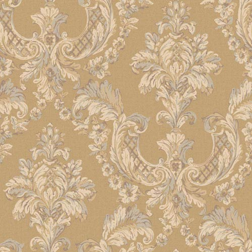York Wallcoverings Arlington Gold and Ecru Gilded Damask Wallpaper: Sample Swatch Only