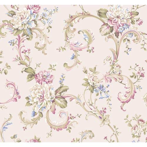 York Wallcoverings Arlington Cream and Dark Pink Floral Scroll Wallpaper