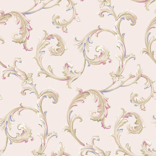 Arlington Cream and Magenta Scroll Wallpaper