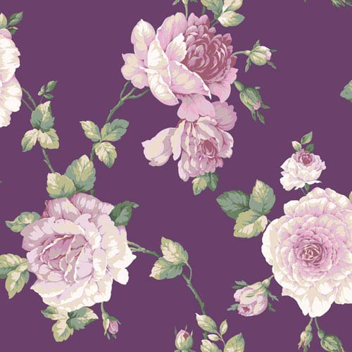 Arlington Purple Large Rose Vine Wallpaper