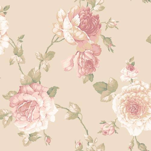 York Wallcoverings Arlington Pale Gold Large Rose Vine Wallpaper: Sample Swatch Only