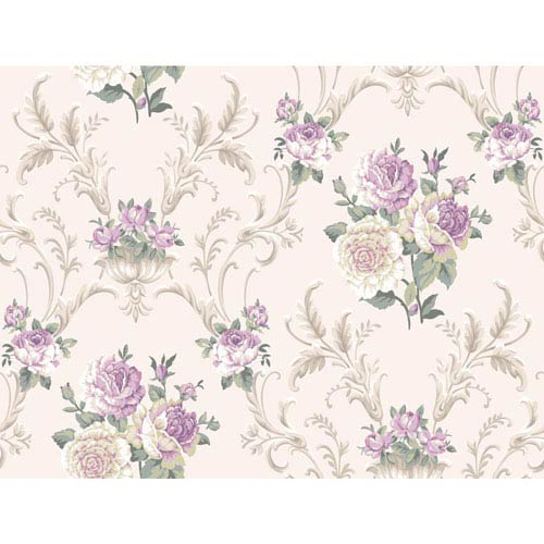 Arlington White and Purple Floral Scrolling Wallpaper