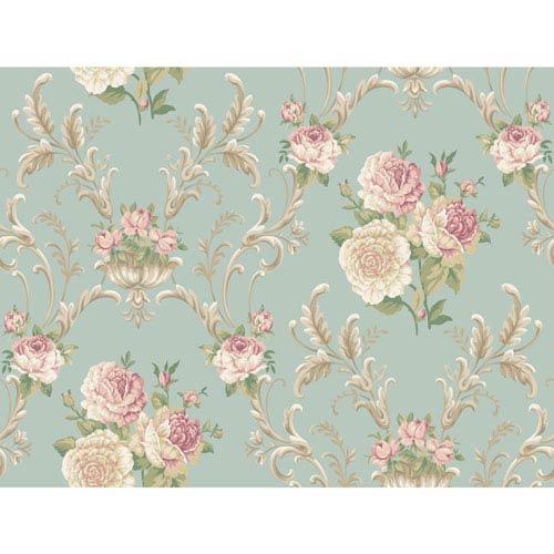 Arlington Aqua Floral Scrolling Wallpaper: Sample Swatch Only