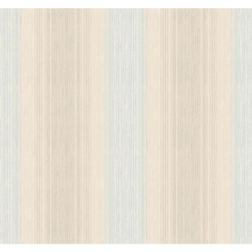 York Wallcoverings Arlington Cream and Aqua Stria Sidewall Wallpaper: Sample Swatch Only