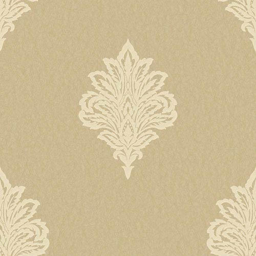 Shimmering Topaz Metallic Gold and Pale Yellow Damask Spot Wallpaper