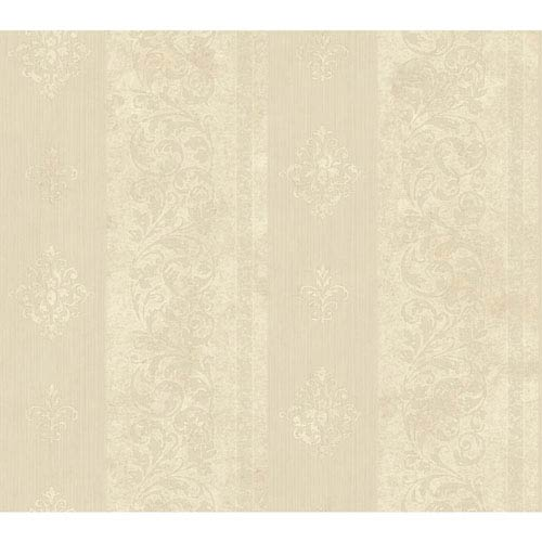 Shimmering Topaz Cream and Beige Watercolor Scroll St Wallpaper: Sample Swatch Only