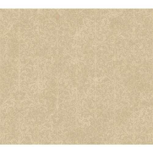 Shimmering Topaz Gold and Beige Allover Scroll Wallpaper