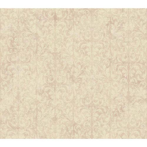 Shimmering Topaz Metallic Pink and Beige Allover Scroll Wallpaper