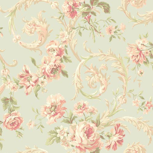 Shimmering Topaz Light Blue and Peach Rococco Floral Wallpaper