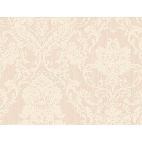 York Wallcoverings Shimmering Topaz Pale Pink And Cream Formal Lacey Damask Wallpaper
