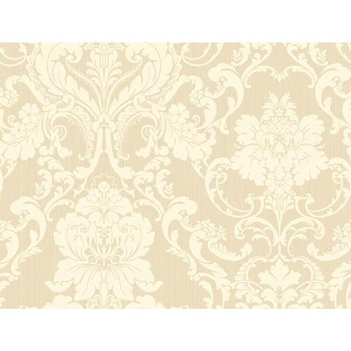 Shimmering Topaz Beige and Cream Formal Lacey Damask Wallpaper: Sample Swatch Only