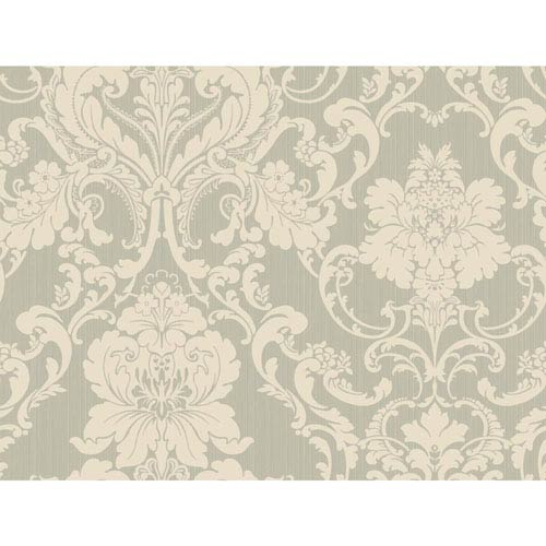 York Wallcoverings Shimmering Topaz Silver And Cream Formal Lacey