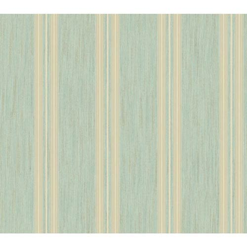 Shimmering Topaz Aqua and Metallic Gold Threaded Stria Strip Wallpaper: Sample Swatch Only