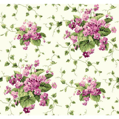 York Wallcoverings Waverly Cottage Cream, Green and White Sweet Violets Wallpaper: Sample Swatch Only
