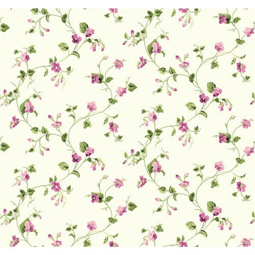York Wallcoverings Waverly Cottage Silvered White, Green and Pink Sweet Violets Trail Wallpaper: Sample Swatch Only